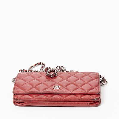 Lot 2 - Chanel Red Chain Single Flap Bag