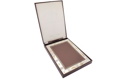 Lot 76 - A very large cased modern Elizabeth II parcel gilt sterling silver commemorative photograph frame, Birmingham 2002 by Mappin and Webb