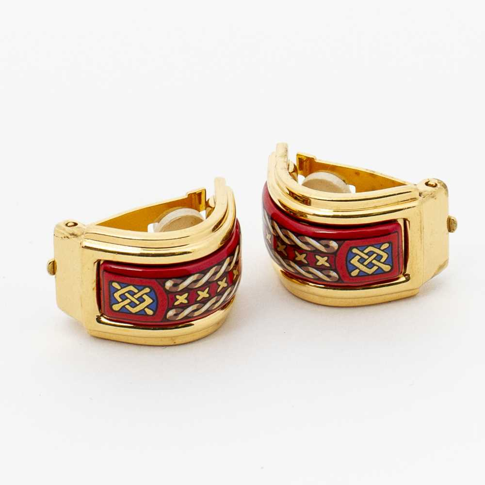 Lot 25 - Hermes Red Clip On Twisted Rope Motif Earrings