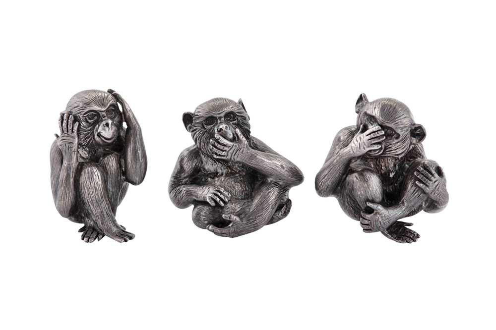 Lot 35 - A group of late 20th century / early 21st century Italian sterling silver wise monkeys figures, Milan circa 2000 by Gianmaria Buccellati