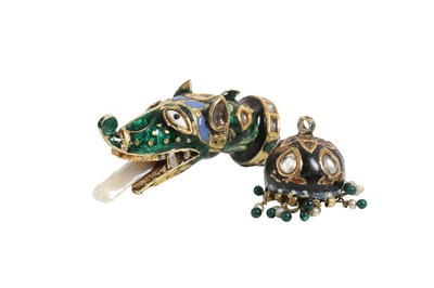 Lot 78 - AN INDIAN ENAMELLED AND PEARL MOUNTED DRAGON PENDANT, PROBABLY LATE 19TH / EARLY 20TH CENTURY