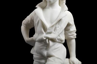 Lot 18 - CESARE LAPINI (ITALIAN, 1848-1893): A MARBLE FIGURE OF A FISHERBOY