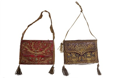 Lot 33A - TWO 18TH CENTURY OTTOMAN VELVET AND GOLD THREAD QU'RAN CASES