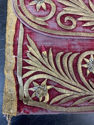 Lot 33 - TWO 18TH CENTURY OTTOMAN VELVET AND GOLD THREAD QU'RAN CASES