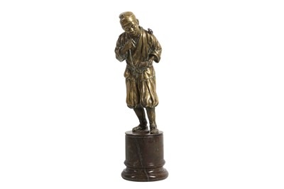 Lot 141 - A LATE 19TH CENTURY BRONZE FIGURE OF A CHINESE MAN