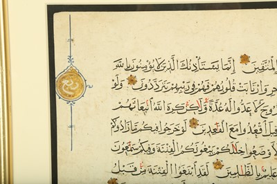 Lot 32 - TWO LOOSE QUR'AN FOLIOS (15:90 TO END AND 9:44 - 52)