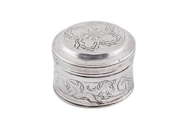 Lot 22 - An early 18th century Dutch or German silver powder or spice box, circa 1730 by G.G (unascribed)