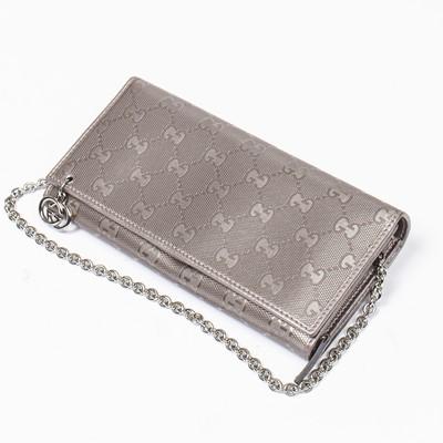 Lot 56 - Gucci Metalic Lilac Guccisima Chain Wallet