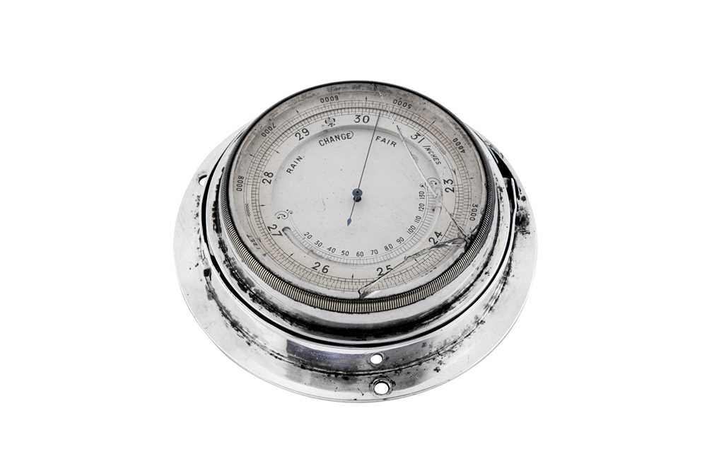 Lot 37 - An Edwardian sterling silver mounted ships barometer, London 1902 by Wright & Davies