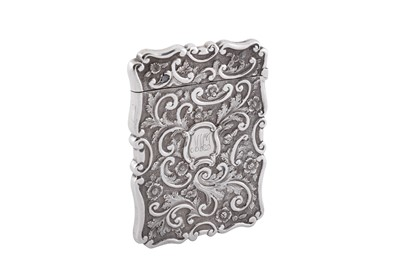Lot 20 - A Victorian sterling silver 'castle top' card case, Birmingham 1868 by Frederick Marson