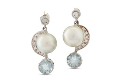Lot 38 - A pair of aquamarine, cultured pearl and diamond earrings