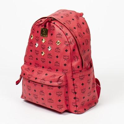 Lot 17 - MCM Red Visetos Stark Side Stud Backpack GM