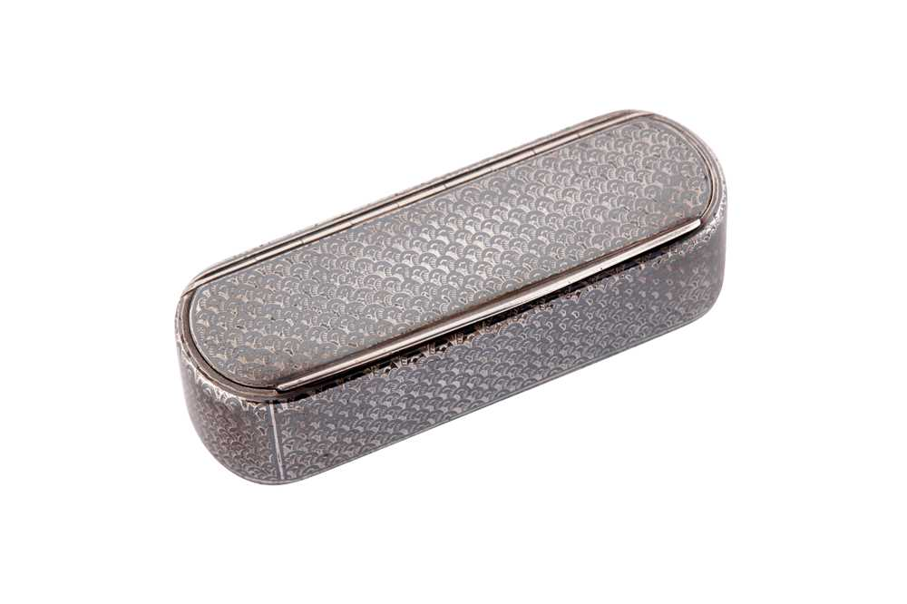 Lot 7 - A mid-19th century French silver and niello snuff box, circa 1860 with later Swedish marks for Stockholm 1927 by Gustaf Möllenborg (master 1823)