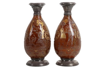 Lot 74 - A PAIR OF LATE 19TH CENTURY FRENCH SILVER MOUNTED GLASS VASES BY BURGUN, SCHVERER & CIE