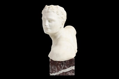 Lot 23 - PROFESSOR OTTO POERTZEL (1876-1963): A 1920'S ALABASTER AND MARBLE BUST OF GREEK ATHLETE