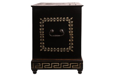 Lot 30 - MANNER OF F. POGLIANI (ITALIAN, 1832-1899): A LARGE 19TH CENTURY EBONISED AND IVORY MOUNTED TABLE CABINET