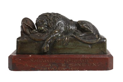 Lot 138 - A 19TH CENTURY BRONZE MODEL OF THE LION OF LUCERNE AFTER THORVALDSEN