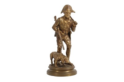 Lot 140 - ALFRED DUBUCAND (FRENCH, 1828-1924): A GILT BRONZE MODEL OF A HUNTER WITH HOUND