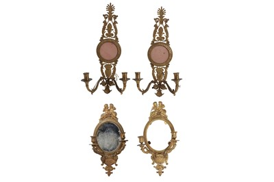 Lot 115 - TWO PAIRS OF LATE 19TH CENTURY FRENCH EMPIRE STYLE ORMOLU WALL APPLIQUES