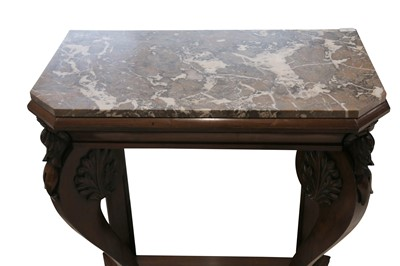 Lot 36 - A REGENCY ROSEWOOD AND MARBLE PIER TABLE