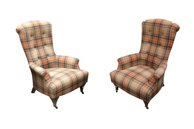 Lot 38 - A PAIR OF HIGH BACKED ARMCHAIRS BY JOHN SANKEY