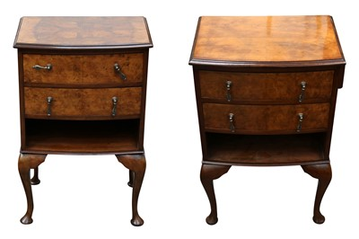 Lot 40 - A PAIR OF BOWFRONT WALNUT BEDSIDE CABINETS, 20TH CENTURY