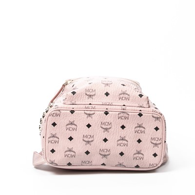 Lot 39 - MCM Light Pink Visetos Side Stud Stark Backpack PM