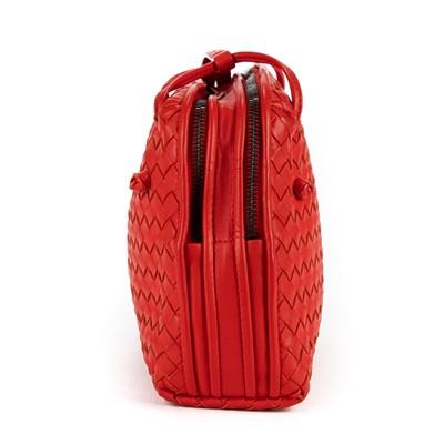 Lot 15 - Bottega Veneta Red Intrecciato Double Zip Nodini Crossbody Bag