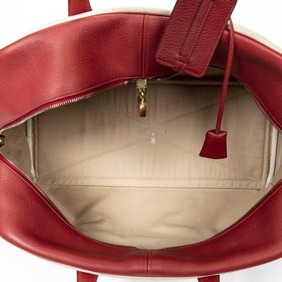 Lot 16 - Hermes Beige Toile Victoria Travel Bag 43