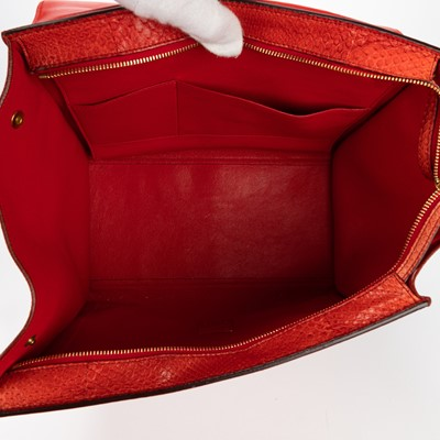 Lot 11 - Celine Red Python Medium Trapeze Bag