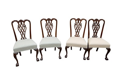 Lot 50 - A SET OF FOUR MAHOGANY DINING CHAIRS, IN THE GEORGE III STYLE, LATE 20TH CENTURY
