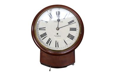Lot 55 - A VICTORIAN WALNUT DROP DIAL CLOCK, 19TH CENTURY