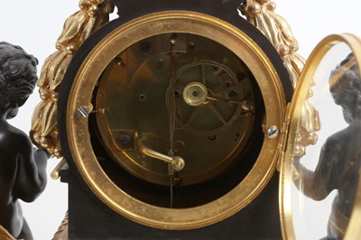 Lot 92 - A MID 19TH CENTURY FRENCH GILT AND PATINATED BRONZE MANTEL CLOCK