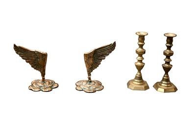 Lot 56 - A PAIR OF BRASS CANDLESTICKS, IN THE MANNER OF SALVADOR DALI, 20TH CENTURY