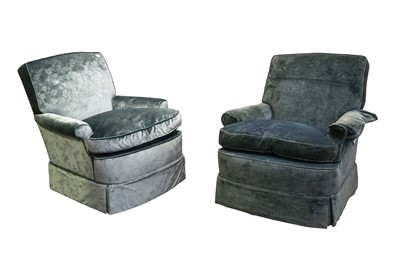 Lot 93 - A PAIR OF BLUE VELVET UPHOLSTERED ARMCHAIRS, EARLY 20TH CENTURY