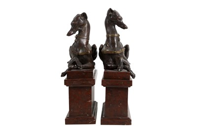Lot 47 - A PAIR OF LATE 18TH CENTURY ITALIAN BRONZE MODELS OF GREYHOUNDS WITH THE SAN VITALE CREST