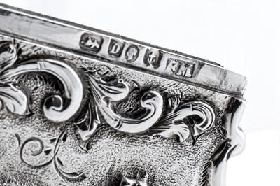 Lot 19 - A Victorian sterling silver 'castle top' card case, Birmingham 1852 by Fredrick Marson