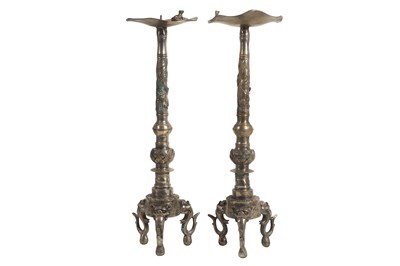 Lot 104 - A PAIR OF 20TH CENTURY SILVERED METAL CHINESE CANDLESTICKS