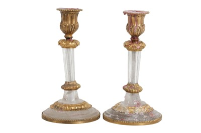 Lot 108 - A PAIR OF 19TH CENTURY FRENCH ROCK CRYSTAL AND ORMOLU MOUNTED CANDLESTICKS