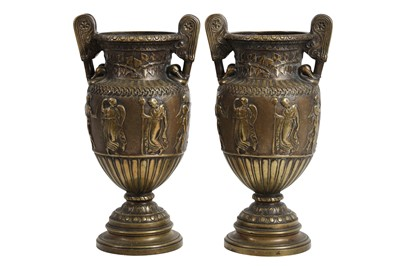 Lot 119 - A PAIR OF 19TH CENTURY BRONZE NEO-CLASSICAL STYLE URN VASES