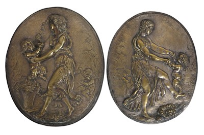 Lot 120 - A PAIR OF 19TH CENTURY FRENCH BRONZE RELIEFS OF DANCING MAIDENS AFTER CLODION