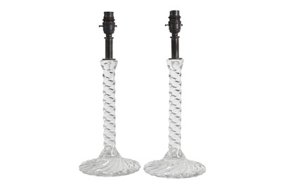 Lot 109 - A PAIR OF GLASS LAMP BASES IN THE STYLE OF BACCARAT