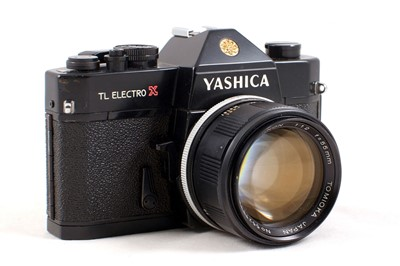 Lot 31 - Black Yashica TL Electro X ITS Camera with RARE Tomioka 55mm f1.2 Lens