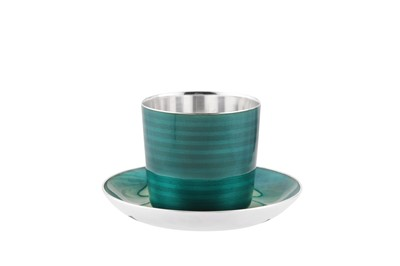 Lot 85 - Royal – A mid-20th century Norwegian guilloche enamel sterling silver beaker and stand, Olso circa 1966 by David Anderson