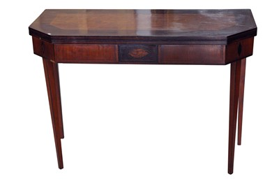 Lot 78 - A SHERATON STYLE SATINWOOD AND LINE INLAID CARD TABLE, EARLY TO MID 20TH CENTURY