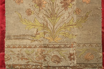 Lot 12 - A MOSAIC PANEL OF FLORAL METAL-WRAPPED THREAD TEXTILE
