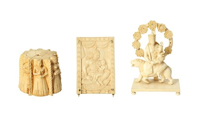 Lot 289 - λ THREE INDIAN CARVED IVORY DECORATIVE ELEMENTS