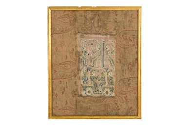 Lot 19 - AN INDO-PORTUGUESE TEXTILE PANEL WITH FIGURAL DECORATION