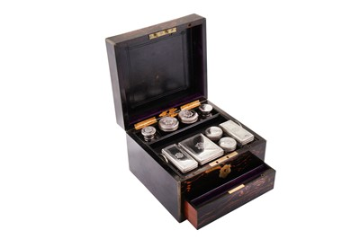 Lot 60 - A Victorian sterling silver fitted coromandel travelling vanity case, London 1871 by Thomas Whitehouse
