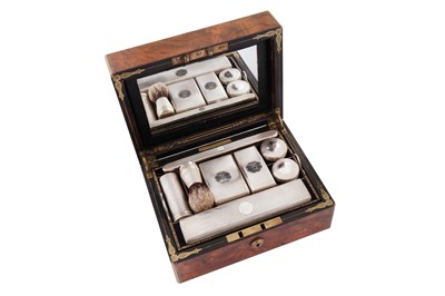 Lot 59 - A Victorian sterling silver fitted burr walnut gentleman's travelling vanity case, London 1861 by Thomas Whitehouse